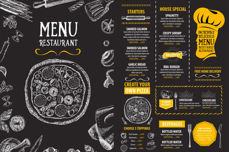 How to design a menu for a restaurant forketers for How to make a blueprint online