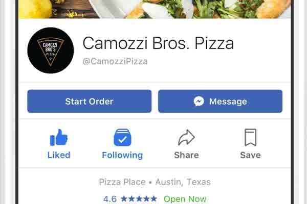 Facebook's Start order