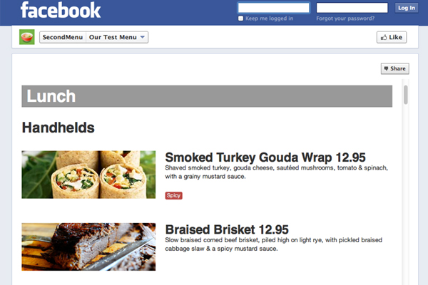 facebook menu restaurant